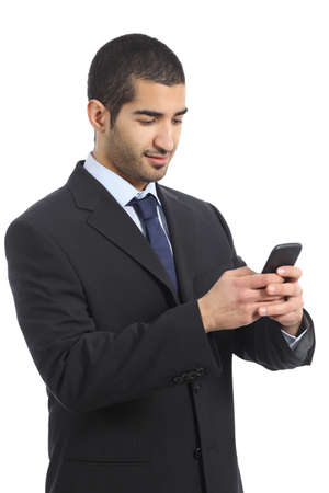 Arab business man working using a mobile phone isolated on a white background photo