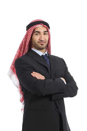 emirates: Arab saudi emirates business man posing isolated on a white background Stock Photo