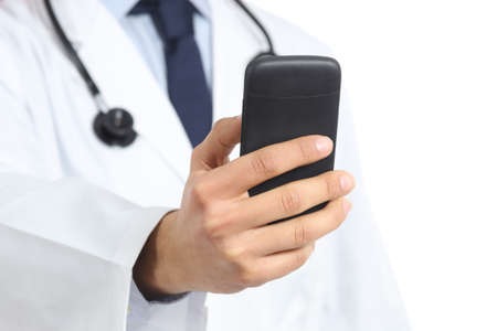 medical attendance: Close up of a doctor man hand holding and using a smart phone isolated on a white background               Stock Photo
