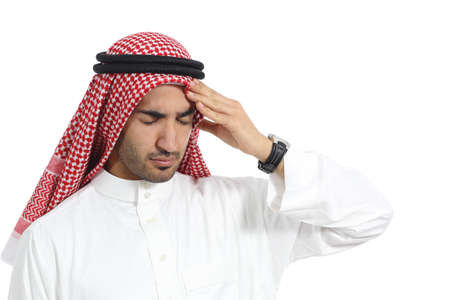 male headache: Arab saudi emirates man with headache isolated on a white background Stock Photo