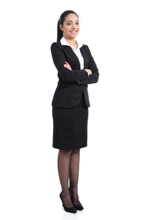 full suit: Arab business standing confident woman posing happy isolated on a white background