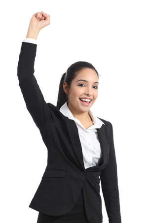 Arab business woman euphoric raising arm isolated on a white background photo
