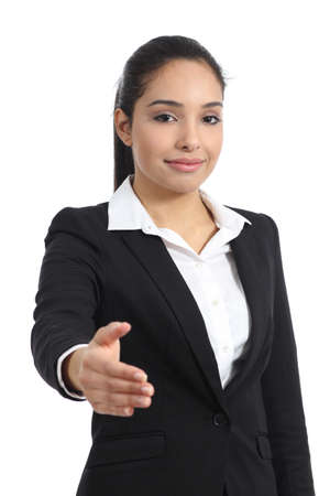 Arab business woman ready to handshake isolated on a white background photo