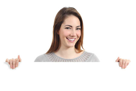 promoter: Beautiful happy woman smiling and holding a blank placard isolated on a white background