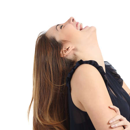 Portrait of a funny woman laughing isolated on a white background photo