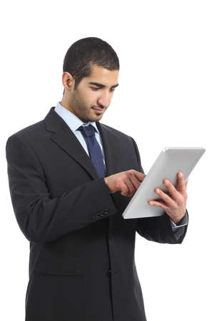 Arab business man working using a tablet isolated on a white background photo