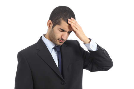 Arab business man worried with headache isolated on a white background           photo
