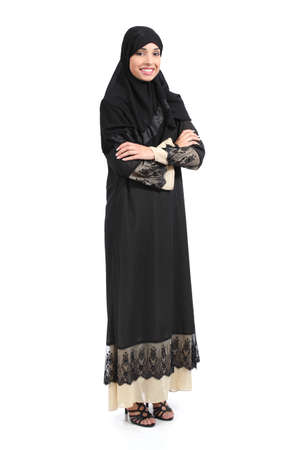 Arab saudi woman full body posing confident isolated on a white background             photo