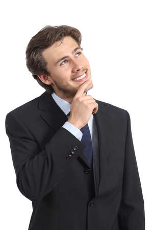 Happy business man thinking and looking at side isolated on a white background