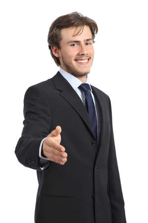 Young happy business man ready to handshake isolated on a white background        photo