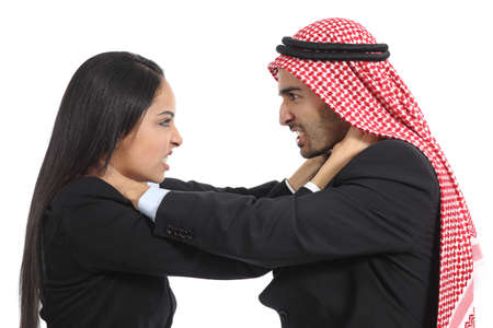 takeover: Arab saudi business man and woman competition isolated