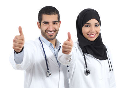 arabic man: Arab saudi emirates doctors happy with thums up isolated  Stock Photo
