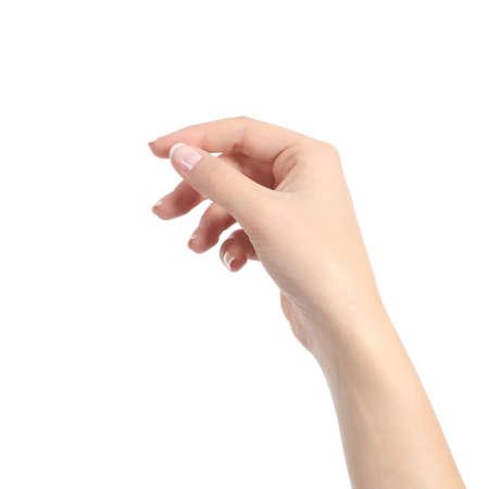 Mão de uma mulher segurando alguns como um cartão em branco isolado