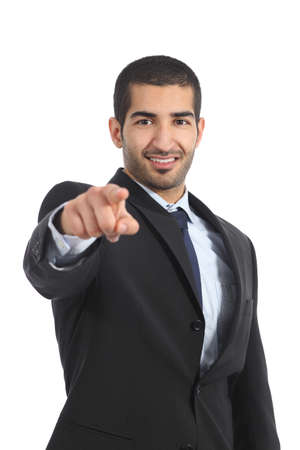 Arab business man pointing you at camera isolated on a white background photo