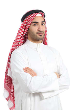 arab model: Serious arab saudi emirates man posing with folded arms isolated on a white background              Stock Photo