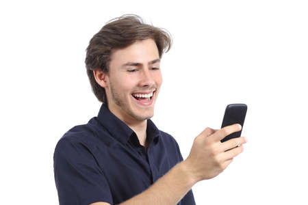 Man laughing texting on the mobile phone isolated on a white background