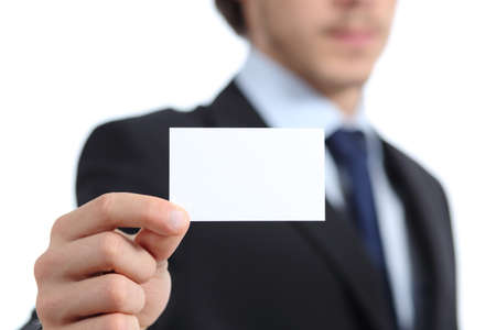 Close up of a businessman hand holding a business card isolated on a white background photo