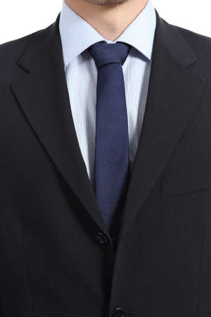Close up of a businessman suit and necktie isolated on a white background photo