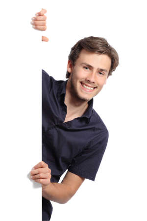 promoter: Young promoter man holding a blank banner isolated on a white background