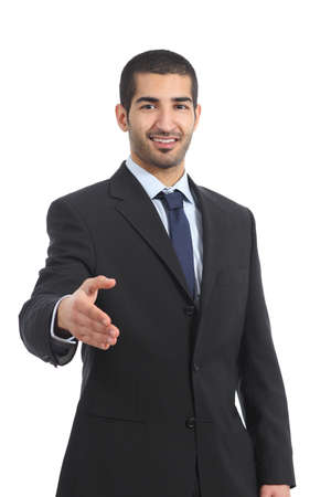 Arab businessman smiling ready to handshake isolated on a white background photo