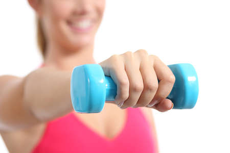 Fitness woman lifting weights exercising aerobic isolated on a white background                 photo