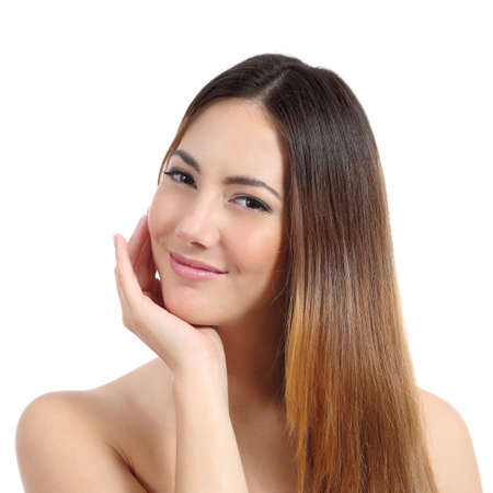 Beauty woman with perfect skin and dyed hair isolated on a white  photo