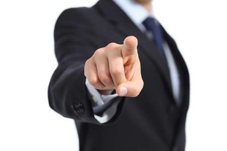 Close-up van een zakenman hand te wijzen op de camera geïsoleerd op een witte achtergrond