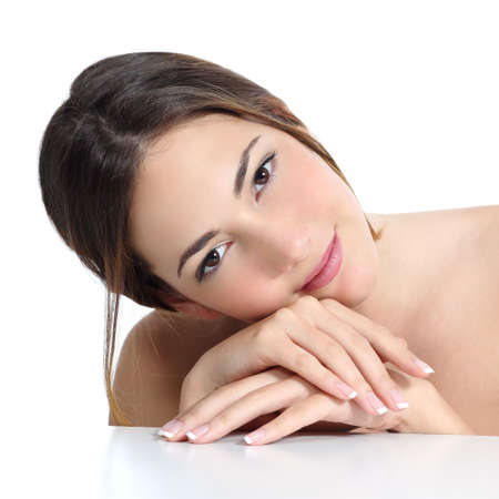 body bag: Beauty woman portrait with perfect skin and french manicure in hands isolated on a white