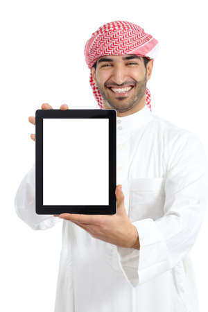 Arab man holding a blank tablet screen advice isolated on a white background                 photo