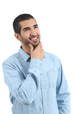 Arab man thinking ideas and looking at side isolated on a white background photo