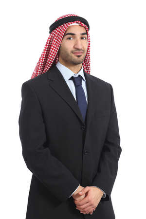 view of an elegant office: Arab saudi emirates businessman posing serious isolated on a white background   Stock Photo