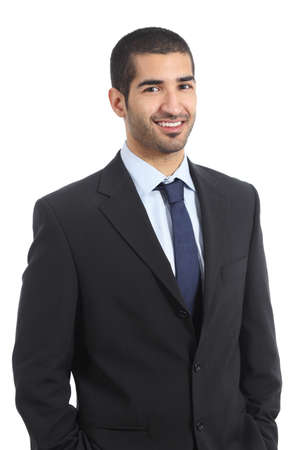 work suit: Handsome arab businessman posing confident wearing suit isolated on a white background