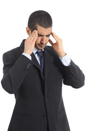 Worried arab businessman with head ache isolated on a white background photo