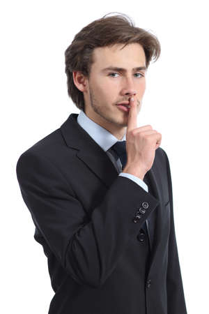 Business man asking for silence shh isolated on a white
