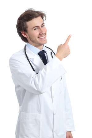 side by side: Doctor man presenting an advice pointing at side isolated on a white