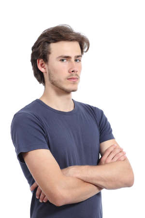 rebel: Portrait of a serious casual man with folded arms isolated on a white  Stock Photo