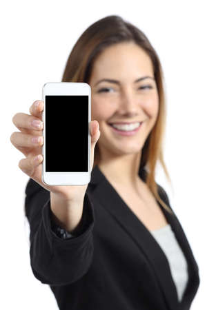 promoter: Business woman smiling showing a blank smart phone screen isolated on a white