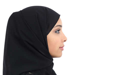 Profile of an arab saudi woman face with perfect skin isolated on a white background photo