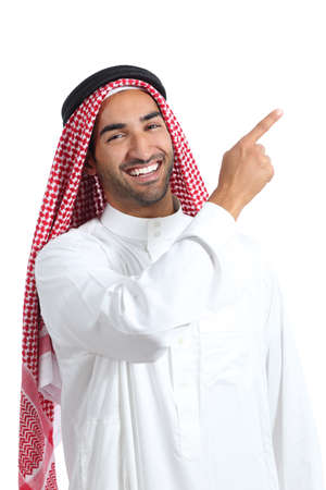 Arab saudi promoter man pointing at side isolated on a white background photo