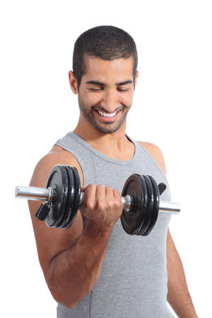 Arab happy man exercising lifting weights isolated on a white background photo