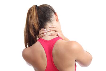 白い背景に分離した首の痛みとフィットネス女性の背面図