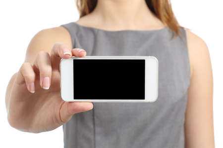 business woman phone: Business woman hand displaying a blank smart phone screen isolated on a white background