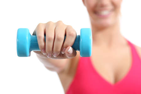 Fitness sportswoman lifting weights exercising aerobic isolated on a white background photo