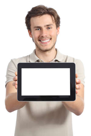 promoter: Happy man holding and showing a blank horizontal tablet screen isolated on a white background