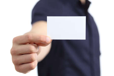 Business man hand holding a blank card isolated on a white background photo