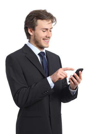 to browse: Businessman using and looking the smart phone on a white background Stock Photo