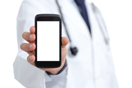 Doctor hand showing a blank smart phone screen app isolated on a white background