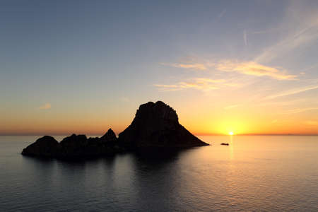 vedra: Seascape of sunset on Es Vedra in Ibiza island Baleares Spain Stock Photo