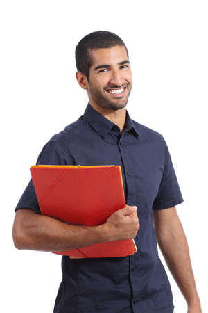 Adult casual arab man student posing standing holding folders isolated on a white background