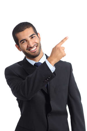 Arab business man presenter presenting and pointing at side isolated on a white background